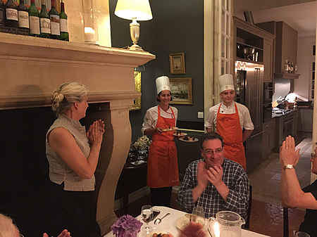 Margaret thanking our private chef for the excellent Farewell Dinner at the June 2018 Grand Cru Tour 1