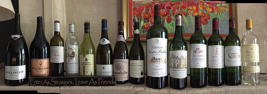 Wines tasted on the 2018 May Grand Tour at the Farewell dinner at Coulon Laurensac