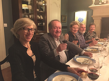 The 2017 June-July Bordeaux Grand Cru Tour enjoying First Growths at the Farewell dinner at Chateau Coulon Laurensac