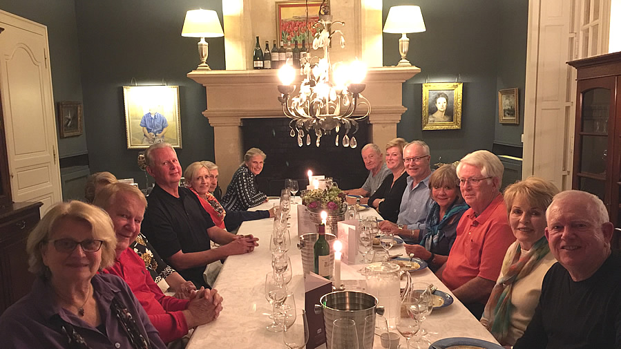 The 2017 October Grand Cru Harvest Tour enjoying First Growths at the Farewell dinner at Chateau Coulon Laurensac