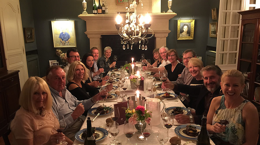 The 2018 May Grand Tour enjoying First Growths at the Farewell dinner at Chateau Coulon Laurensac