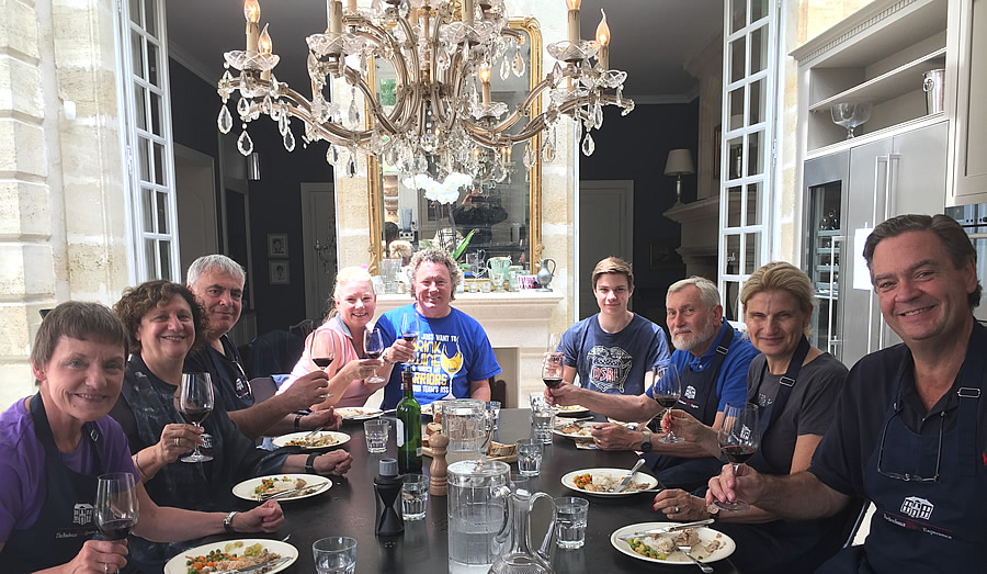Lunch in the kitchen of Chateau Coulon Laurensac on the 2017 June-July Bordeaux Grand Cru Tour is an unforgettable experience