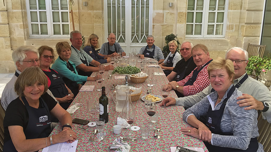 A lunch on the patio of Chateau Coulon Laurensac on the 2017 October Grand Cru Harvest Tour is an extraordinary experience
