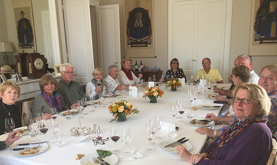 The 2017 October Grand Cru Harvest Tour enjoying yet another private Chateau Lunch