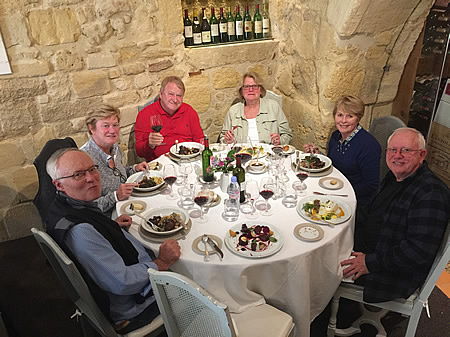 The 2017 October Grand Cru Harvest Tour in Saint Emilion enjoying a lovely lunch