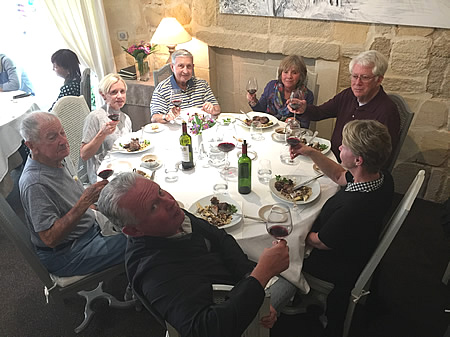 The 2017 October Grand Cru Harvest Tour enjoying a lovely lunch in Saint Emilion