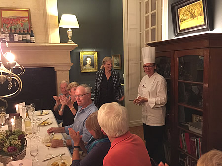 Margaret thanking our private chef for the excellent Farewell Dinner on the 2017 October Grand Cru Harvest Tour