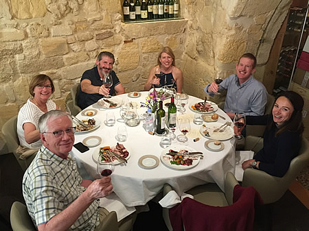 The 2018 May Grand Tour enjoying a lovely lunch in Saint Emilion