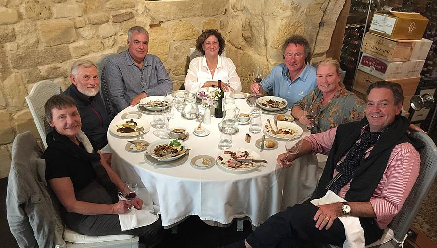 The 2017 June-July Bordeaux Grand Cru Tour enjoying a lovely lunch in Saint Emilion