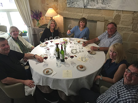 The 2018 May Grand Tour savoring a lovely lunch in Saint Emilion