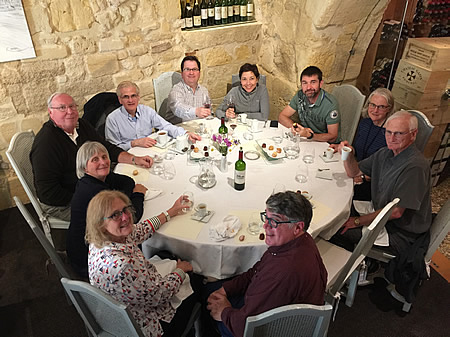 The 2017 May Grand Tour enjoying a lovely lunch in Saint Emilion