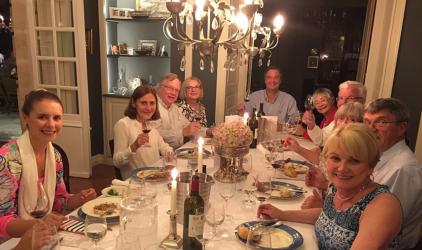 The 2017 June Grand Cru Tour enjoying First Growths at the Farewell dinner at Chateau Coulon Laurensac
