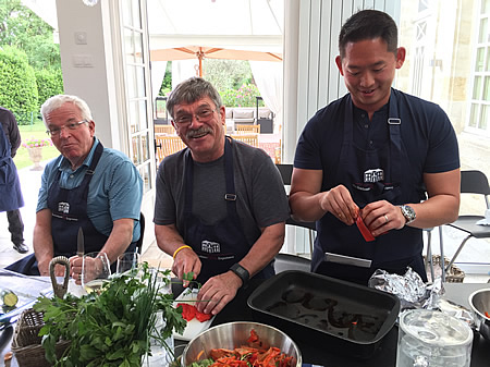 Guys at the 2017 June Grand Cru Tour enjoying a cooking class