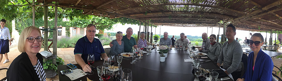 2017 June Bordeaux Grand Cru Tour enjoying a Michelin rated lunch at a Classified Growth