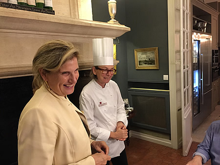 Margaret thanking our private chef for the excellent Farewell Dinner at the June 2017 Grand Cru Tour