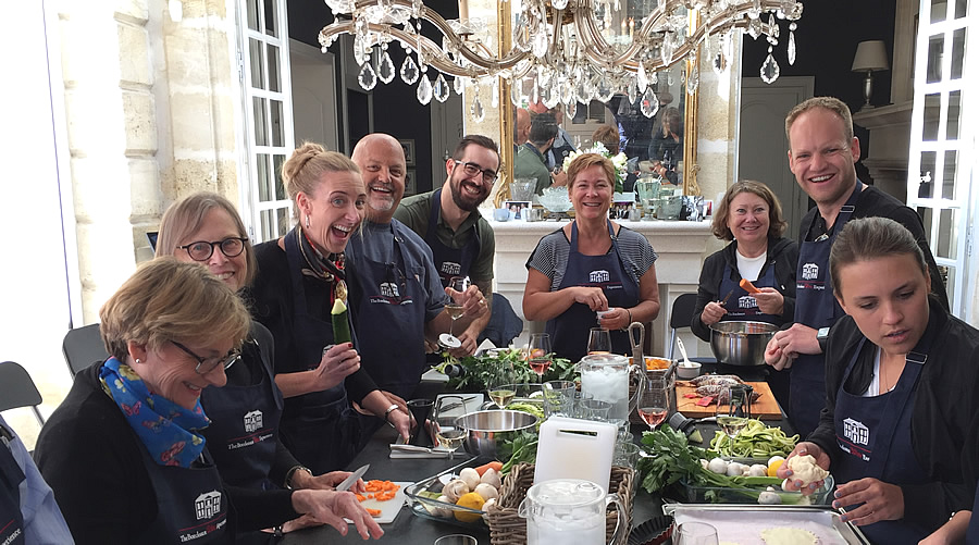 Cooking in the kitchen of Chateau Coulon Laurensac on the 2017 September Grand Cru Harvest Tour is an unforgettable experience