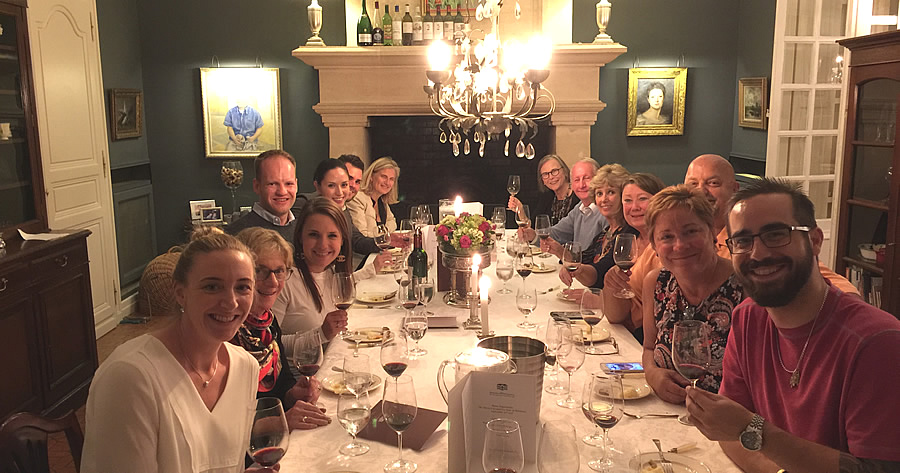 The 2017 September Grand Cru Harvest Tour enjoying First Growths at the Farewell dinner at Chateau Coulon Laurensac