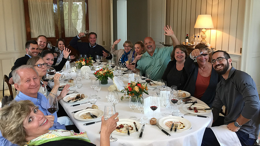 The 2017 September Grand Cru Harvest Tour enjoying yet another private Chateau Lunch