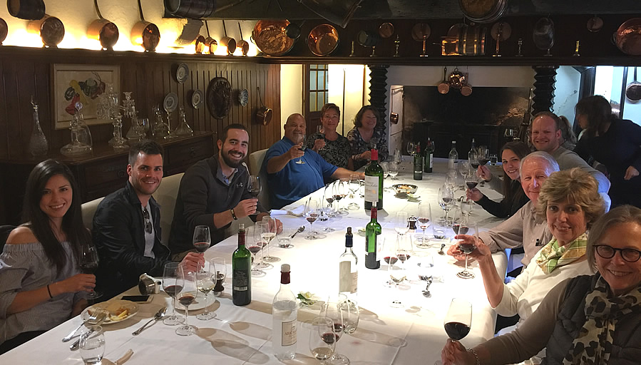 The 2017 September Grand Cru Harvest Tour enjoying a private Chateau Lunch
