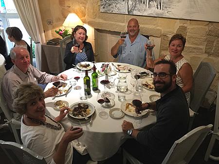 The 2017 September Grand Cru Harvest Tour in Saint Emilion enjoying a lovely lunch