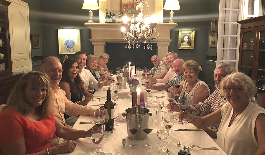 The 2018 June II Bordeaux Grand Cru Tour enjoying First Growths at the Farewell dinner at Chateau Coulon Laurensac