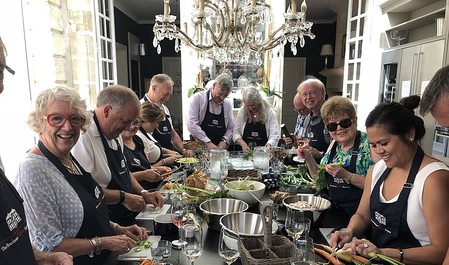 Lunch in the kitchen of Chateau Coulon Laurensac on the 2018 June II Bordeaux Grand Cru Tour is an unforgettable experience
