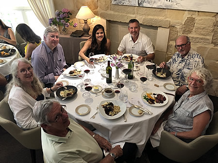 The 2018 June II Bordeaux Grand Cru Tour enjoying a lovely lunch in Saint Emilion