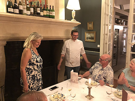 Margaret thanking our chef for another fabulous Farewell Dinner the 2018 June II Bordeaux Grand Cru Tour