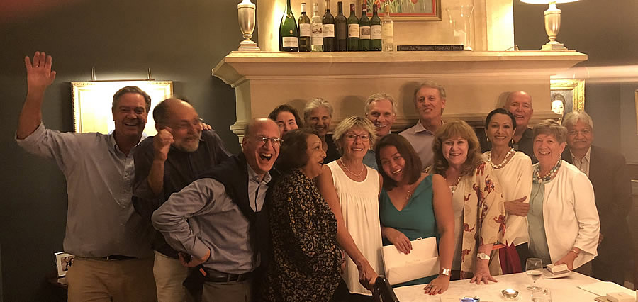 Great friends and great fun at the Farewell dinner at Chateau Coulon Laurensac