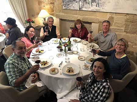 The 2018 Bordeaux Grand Cru Harvest Tour I enjoying a lovely lunch in Saint Emilion