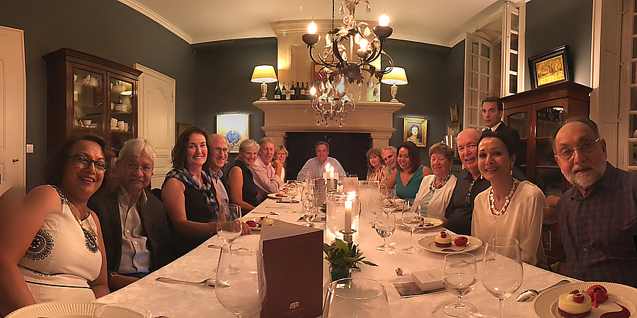 The 2018 Bordeaux Grand Cru Harvest Tour I enjoying First Growths at the Farewell dinner at Chateau Coulon Laurensac