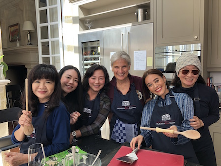 Great fun in the kitchen of Chateau Coulon Laurensac on The 2018 Bordeaux Grand Cru Harvest Tour II