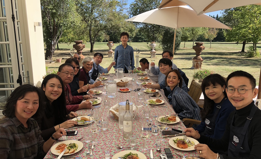 Lunch on the patio of Chateau Coulon Laurensac on the 2018 Bordeaux Grand Cru Harvest Tour II is an unforgettable experience
