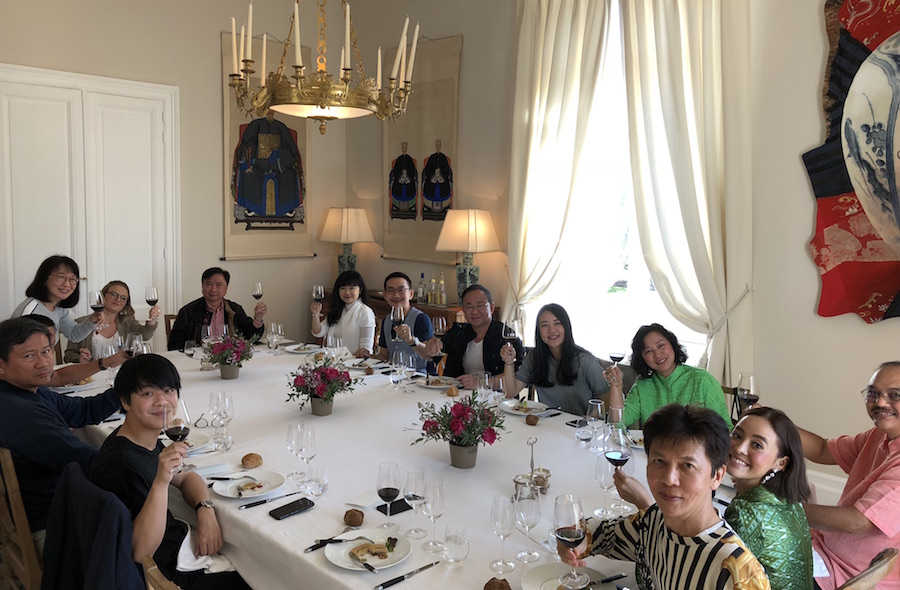 The 2018 Bordeaux Grand Cru Harvest Tour II enjoying yet another private Chateau Lunch