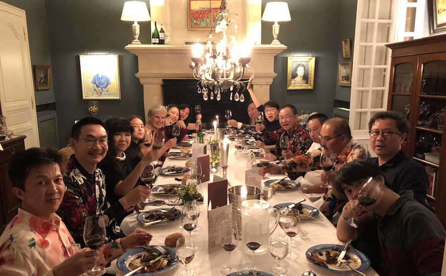 The 2018 Bordeaux Grand Cru Harvest Tour II enjoying First Growths at the Farewell dinner at Chateau Coulon Laurensac