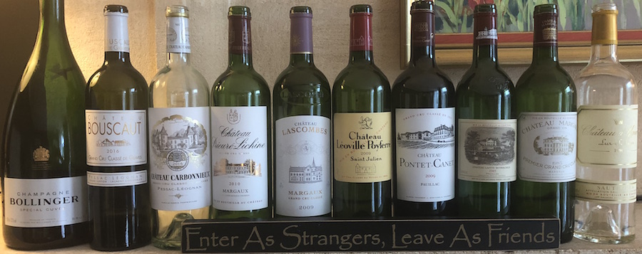 Wines tasted on the 2018 Bordeaux Grand Cru Harvest Tour II at the Farewell dinner at Coulon Laurensac