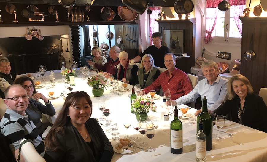 The 2018 Bordeaux Grand Cru Harvest Tour III indulging in a private Chateau Lunch
