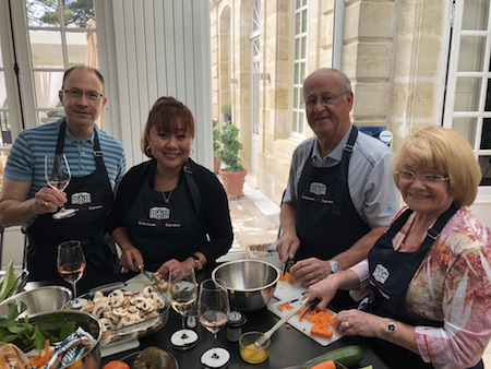 Cooking class in the kitchen of Chateau Coulon Laurensac on The 2018 Bordeaux Grand Cru Harvest Tour III