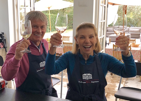 Cooking class in the kitchen of Chateau Coulon Laurensac on The 2018 Bordeaux Grand Cru Harvest Tour III is great fun!