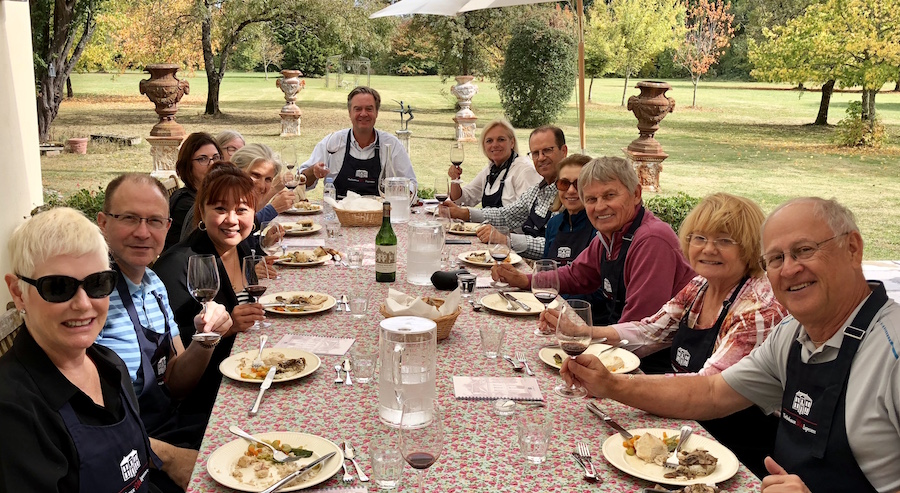 Lunch on the patio of Chateau Coulon Laurensac on the 2018 Bordeaux Grand Cru Harvest Tour III is an unforgettable experience