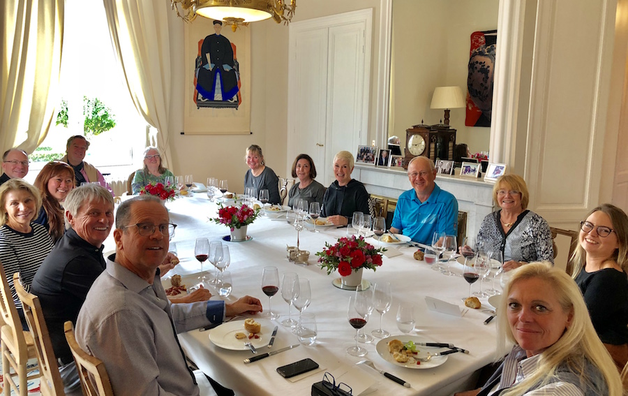 The 2018 Bordeaux Grand Cru Harvest Tour III enjoying yet another private Chateau Lunch