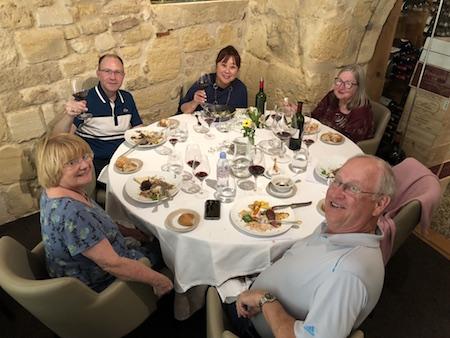 The 2018 Bordeaux Grand Cru Harvest Tour III savoring an exquisite lunch in Saint Emilion