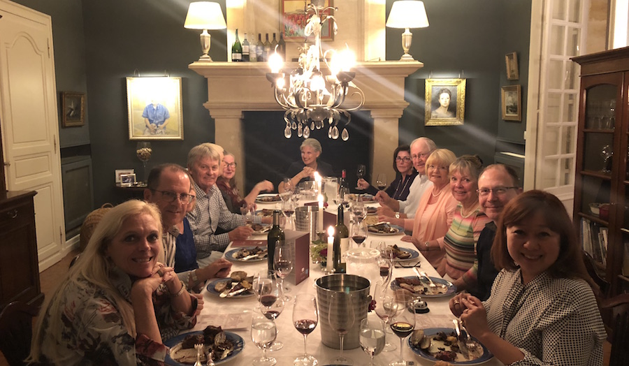 The 2018 Bordeaux Grand Cru Harvest Tour III enjoying First Growths at the Farewell dinner at Chateau Coulon Laurensac