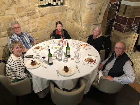 The 2019 May Grand Tour savoring a lovely lunch in Saint Emilion