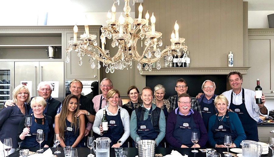 The June 2019 Grand Cru Tour 1 enjoying the cooking experience in the chateau-kitchen