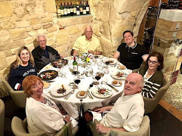 The 2019 June Grand Cru Tour 2 savoring an exquisite lunch in Saint Emilion