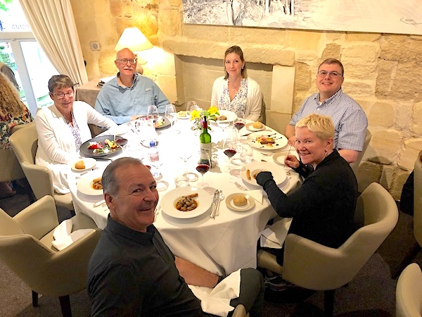 The 2019 June Grand Cru Tour 2 enjoying a lovely lunch in Saint Emilion