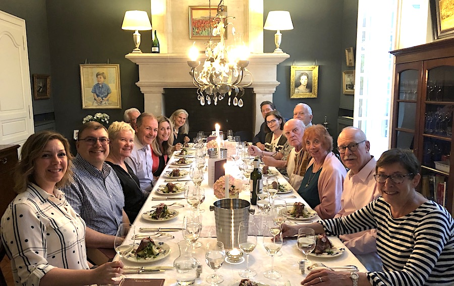 The 2019 June Grand Cru Tour 2, enjoying First Growths at the Farewell dinner at Chateau Coulon Laurensac