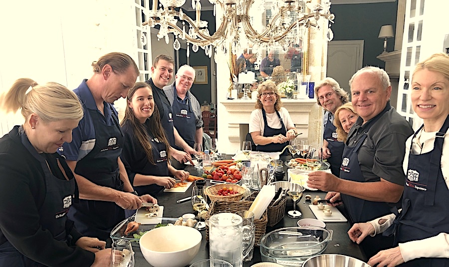 Cooking class in the kitchen of Chateau Coulon Laurensac on the 2019 Bordeaux Grand Cru Harvest Tour I is an unforgettable experience