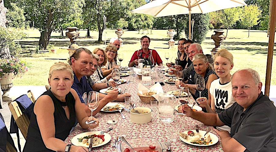 Lunch on the patio of Chateau Coulon Laurensac on the 2019 Bordeaux Grand Cru Harvest Tour II is an unforgettable experience